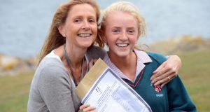 Elena Nolan, Killiney, is congratulated by her mother Dara on getting her Junior Certificate results at Loreto Abbey, Dalkey. Photograph: Eric Luke/The Irish Times.