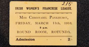 Hanna Sheehy Skeffington, Admission ticket - IRISH WOMEN'S FRANCHISE LEAGUE - Miss Christabel Pankhurst,March 11th 1910.