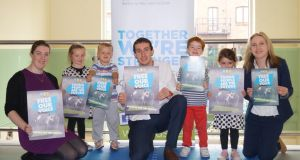 "Local Ringsend children (Áine, Cian, Cathal, Saoirse) join USI officers at launch of  ""Free Our Voice"" Seanad reform proposal."