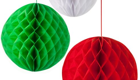 THREE OF THE BEST . . . FOR COUNTY COLOURS: Mayo fans can have fun with these honeycomb decorations, designed for Christmas festivities but perfect for flying the Mayo flag in style. The three-bauble pack contains a 20cm in white, a 25cm in green and a 30.5cm in red and is available from hunkydoryhome.co.uk for £8.50 (about €10), ex delivery.