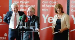 Minister of State Alex White, Tánaiste Eamon Gilmore and Minister for Social Protection Joan Burton at a Labour Party press conference to call for a Yes vote in the forthcoming referendum on the Abolition of the Seanad and the creation of a Civil Court of Appeal. Photograph: Alan Betson / The Irish Times
