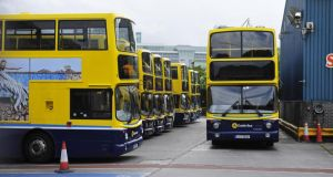 Buses parked up in Conyngham Road Garage in Dublin City last month when pickets were  placed on all Dublin Bus garages.Photograph: Aidan Crawley/The Irish Times
