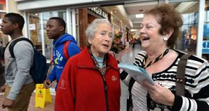 Mary O'Rourke with local Mary McCormack during a Democracy Matters campaign at Golden Island shopping centre Athlone where she was urging  for a No vote in the Seanad referendum next month.Photograph: Brenda Fitzsimons / The Irish Times
