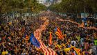 Demonstrators march during The National Day of Catalonia yesterday in Barcelona. Photograph: David Ramos/Getty Images.