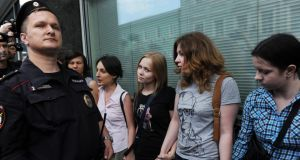 "Gay rights activists protest in Moscow against a bill banning homosexual ""propaganda"" among minors."