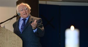 "President Michael D Higgins  has said much of the work of ""maintaining and enhancing human livelihoods takes place outside the market"". Photograph: Dara Mac Dónaill/The Irish Times"