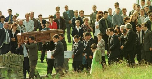 The funeral of Omagh bombing victim Avril Monaghan, who was pregnant with twins, and  of her daughter Maura (18 months), leaving the family home  in Augher, Co Tyrone, on August 18th, 1998.  Photograph: Frank Miller/The Irish Times