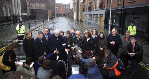 Omagh relatives during a outdoor  press conference at Dublin Special Criminal Court on  January 25th, 2002, after Colm Murphy of Dundalk was jailed for 14 years in connection with the bombing. Photograph: Paul McErlane/Reuters
