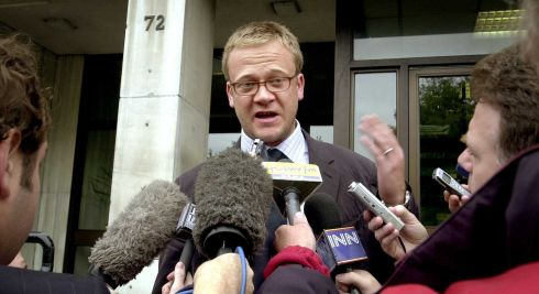 Jason McCue solicitor for families affected by the Omagh bombing, talking to reporters outside The Department of Justice after a meeting with then minister for justice Michael McDowell in September 2003. Photograph: David Sleator/The Irish Times