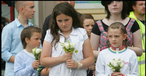 Children from Buncrana, Co Donegal, in Omagh to mark the 10th anniversary of the bombing. Photograph: Brenda Fitzsimons/The Irish Times