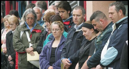 Omagh stands in silence on the 10th anniversary. Photograph: Brenda Fitzsimons/The Irish Times