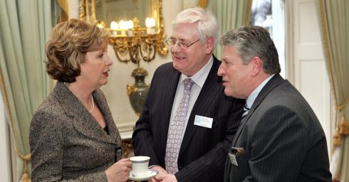 Then President Mary McAleese  with Michael Gallagher (centre), and Stanley McCombe, both  members of the Omagh Support and Self Help Group, during a reception as Áras an Uachtaráin in January 2010. Photograph: Matt Kavanagh/The Irish Times