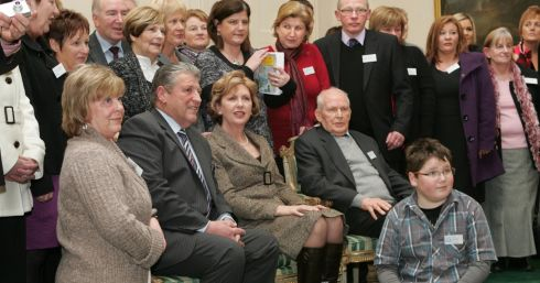 Mrs McAleese  with the Omagh Support and Self Help Group member at the January 2010 reception. Photograph: Matt Kavanagh/The Irish Times