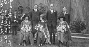 The wedding of Kevin O'Higgins to Bridget Mary Cole in 1921, with Eamon de Valera in attendance.