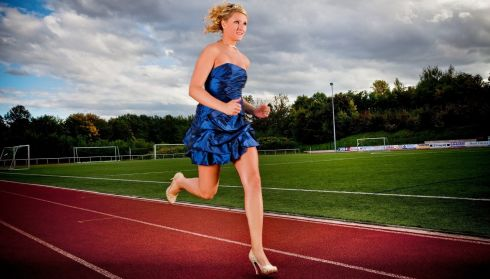 Julia Plecher from Germany who has made it into the Guinness Book of World Records for running the fastest 100 meters in high heels traveling the distance in just 14.531 seconds. Photograph: Guinness Book of Records/PA