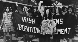 Members of the Irish Womens' Liberation Movement on thier return from Belfast to buy contraceptives on May 22nd 1971