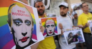 Collision course?: Spanish protesters campaign against anti-gay laws outside the Russian embassy in Madrid. Photograph: Denis Doyle/Getty