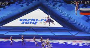 Collision course?: skaters perform at an Olympic  ceremony at Bolshoi Ice Dome, in Sochi. Photograph: James Hill/New York Times