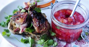 Crisp ham hock with plum chutney