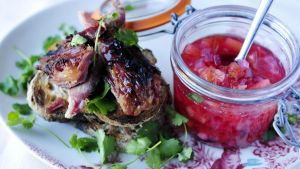 Ham hock and plum chutney. Photograph: Aidan Crawley
