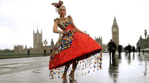 Model Aspen Glen-Cross in a dress adorned with about 5,000 Lego bricks, designed by Central Saint Martins College of Art and Design student Anne-Sophie Cochevelou, in central London, to promote London Fashion Week. Photograph: Anthony Devlin/PA