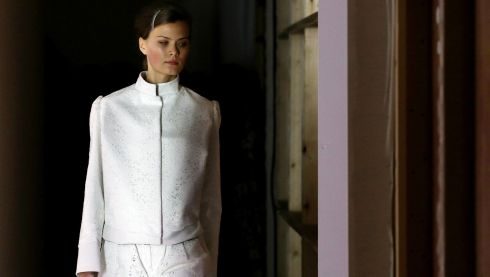 A model rehearses backstage for the Bora Asku Spring/Summer 2014 show in London.  Photograph: Gareth Fuller/PA Wire