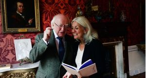 President Michael D.Higgins with poet Paula Meehan after she was announced as Ireland Professor of Poety at a reception in the Provost House, Trinity College Dublin. Photograph: Brenda Fitzsimons / The Irish Times