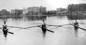 The triumphant Caseys in their single sculls (from left): Tom, Jim and Steve on the Charles River, Boston, Massachusetts. From:  The Legendary Casey Brothers, published by The Collins Press, 2013.