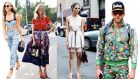 Left to right: Annie Georgia Greenberg showing off her midriff;  Chiara Ferragni; Caroline Issa in off-white; and Johnny Wujek wearing . . . cycling shorts . . . and a matching zip-up. Photographs: Daniel Zuchnik/Getty and Chelsea Lauren/Getty