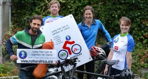 Charity cyclists Isidro Carrion, Kyle Petrie, Niamh Allen and Sadhbh McKenna. Photograph: Cyril Byrne