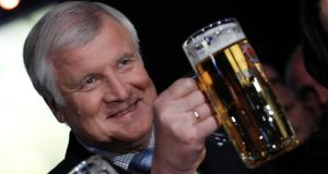 Confident swagger: Bavarian state premier and leader of the Christian Social Union (CSU) Horst Seehofer at his party's final election campaign meeting in Munich on Thursday. Photograph: Michaela Rehle.