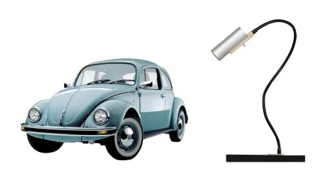 Classic Volswagen Beetle, €5,250 on carzone.ie. Le Funsel light, €322, Nils Holger Moormann at Lost Weekend in Dún Laoghaire.