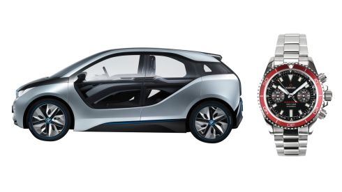 Electirc BMW i3, €33,160 (after Government grants) to order at BMW dealerships. Stainless steel Ocean Chrono watch, €499, kadloo-online.com
