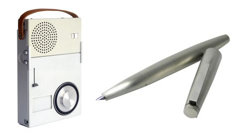 Pocket radio, Dieter Rams, currently €48.63 on ebay.ie Lamy 2000 steel fountain pen, €275, The Pen Corner, College Green, Dublin.