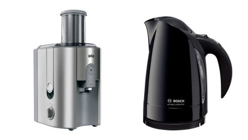 Multiquick 7 juicer J700, €149.52, Braun, pixmania.com. Private collection black kettle, €54.99, Bosch at Arnotts.