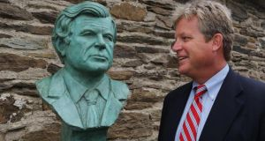 Ted Kennedy Jnr looking at the new bust of his father Edward at the Kennedy Homestead Dunganstown, New Ross, Co Wexford today. Photograph: Mary Browne