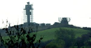 Former British Army watch towers on the border in South Armagh.