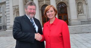Minister for Health James Reilly with  Eilish Hardiman of the children's hospital group. Photograph: Caroline Quinn/PA Wire