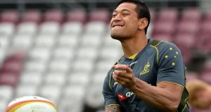 Israel Folau scored Australia's try in The Rugby Championship victory over Argentina in Perth. Photograph:  Bradley Kanaris/Getty Images