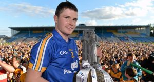 Clare captain Paul Flanagan with the trophy after their victory over Antrim in the All-Ireland  under-21 hurling final at Semple Stadium. Photograph:   Brendan Moran /Sportsfile