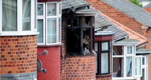 The scene of the fatal  house fire at Wood Hill, in the Spinney Hills areaof Leicester which claimed the lives of four people. Photograph: Rui Vieira/PA Wire