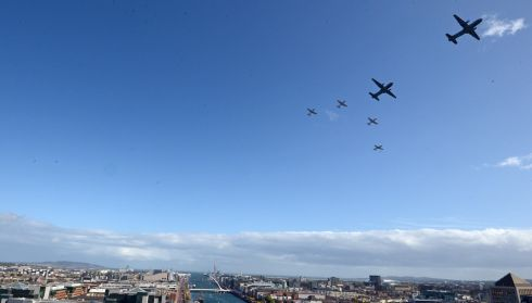 Two Aer Corps Casa escorted by four PC9 aircraft, flying over the river Liffey, at the FlightFest in Dublin today (Sun). Photograph: Eric Luke / THE IRISH TIMES