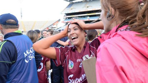 Heather Cooney  of the  Galway Camogie team celebrates victory in the All Ireland Camogie Final between Kilkenny and Galway at Croke Park . Photograph: Alan Betson / THE IRISH TIMES