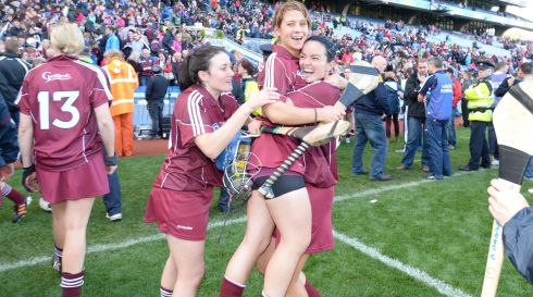 Galway Camogie players Ailish O'Reilly, Molly Dunne and Emma Kilkelly celebrate victory in the All Ireland Camogie Final between Kilkenny and Galway at Croke Park. Photograph: Alan Betson / THE IRISH TIMES