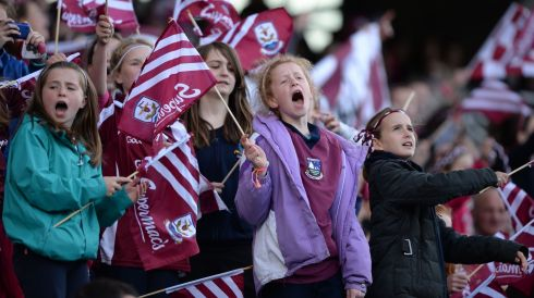 Galway Camogie supporters  celebrate victory in the All Ireland Camogie Final between Kilkenny and Galway at Croke Park. Photograph: Alan Betson / THE IRISH TIMES