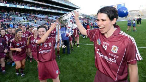 Galway Camogie players Emer Haverty and Ann Marie Hayes celebrate victory in the All Ireland Camogie Final between Kilkenny and Galway at Croke Park . Photograph: Alan Betson / THE IRISH TIMES
