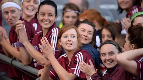 Galway Camogie players celebrate victory in the All Ireland Camogie Final between Kilkenny and Galway at Croke Park. Photograph: Alan Betson / THE IRISH TIMES