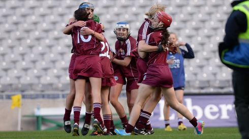 Galway Camogie players celebrate victory in the All Ireland Camogie Final between Kilkenny and Galway at Croke Park . Photograph: Alan Betson / THE IRISH TIMES