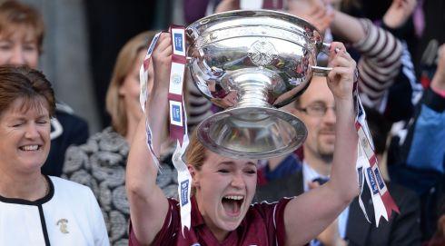 Lorraine Ryan - Captain of the  Galway Camogie team celebrates victory in the All Ireland Camogie Final between Kilkenny and Galway at Croke Park. Photograph: Alan Betson / THE IRISH TIMES