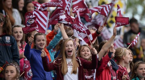 Galway Supporters cheer on their team during  the All Ireland Camogie Final between Kilkenny and Galway at Croke Park . Photograph: Alan Betson / THE IRISH TIMES